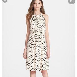 Leopard print cream crepe Kate spade dress